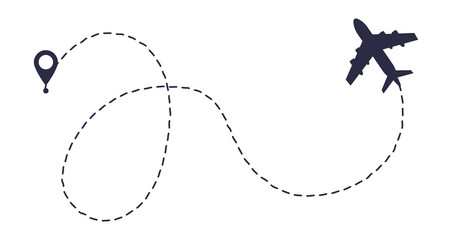 Airplane line path route.
