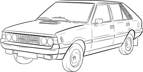 polonez, szkic, sketch, car, auto, samochód, klasyczny, classic,transport,podróż