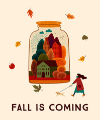 Autumn cute illustration. Vector design for card, poster, flyer