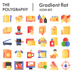 Polygraphy flat icon set, printing symbols collection, vector sketches, logo illustrations, publishing signs color gradient pictograms package isolated on white background, eps 10.