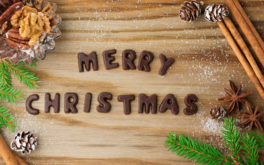 Merry Christmas chocolate lettering