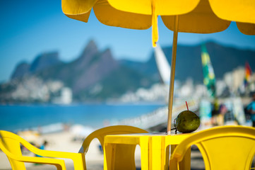 Printed roller blinds Rio de Janeiro Colorful morning view from the chairs of a sidewalk cafe at the Arpoador overlook on Ipanema Beach in Rio de Janeiro, Brazil