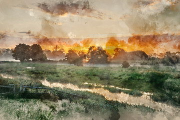 In de dag Khaki Digital watercolor painting of Beautiful vibrant Summer sunrise over English countryside landscape