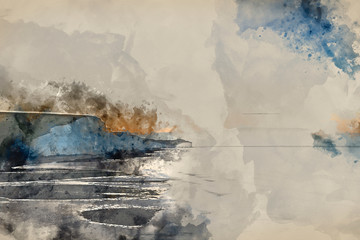 Digital watercolor painting of Beautiful dawn landscape of Seven Sisters cliffs landmark on English coast