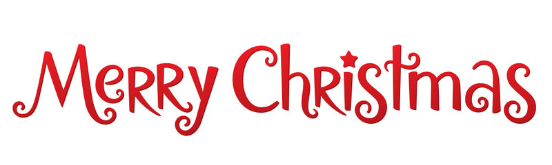 Wall Mural - MERRY CHRISTMAS red vector hand lettering banner