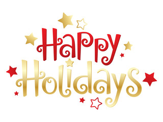 Wall Mural - HAPPY HOLIDAYS red and gold vector hand lettering banner with stars