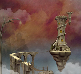 Fantasy flying tower and a long bridge over the clouds in a purple sky scenery