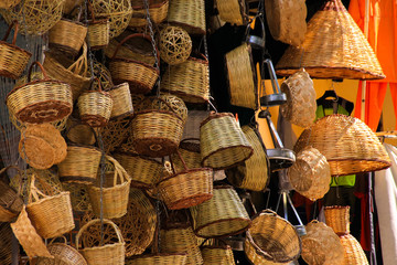 Handmade baskets on a market in the oldtown of Athens (Plaka), Greece
