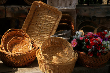 Handmade baskets on a market in the old town of Athens (Plaka), Greece