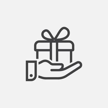 gift box linear icon logo design, gift box icon vector illustration