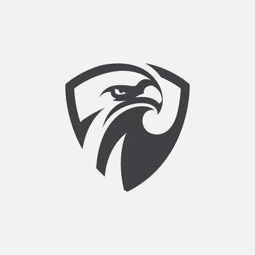 eagle shield icon design illustration, hawk icon design, eagle logo template