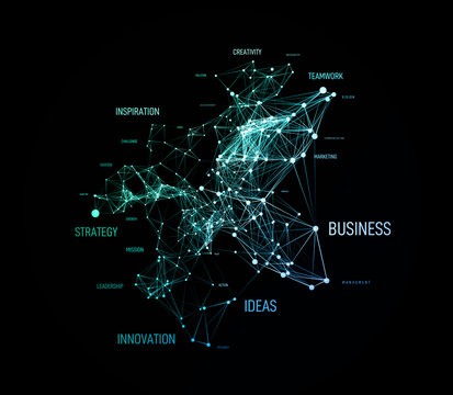 Big data business solution concept in word tag cloud with plexud dot and line connection. Vector geometric background