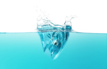 Poster Turquoise water splash wave on white background