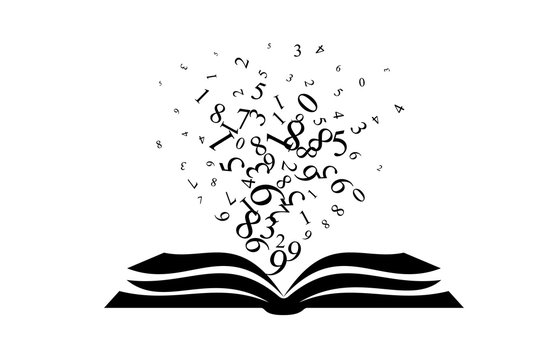 Book with flying up numbers . Vector decoration from scattered elements. Monochrome isolated silhouette. Conceptual illustration.