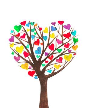Albero con le foglie colorate rosse e gialle a forma di cuore. Acquerello dipinto. Isolato