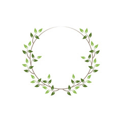 Vintage floral round frames. Green decorative ivy wreath. Vector illustration