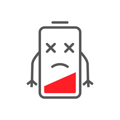 Low level energy of battery in flat cartoon style. Battery low charge symbol concept image. EPS 10.