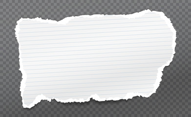 Piece of torn, white realistic paper with soft shadow is on dark squared background. Vector illustration