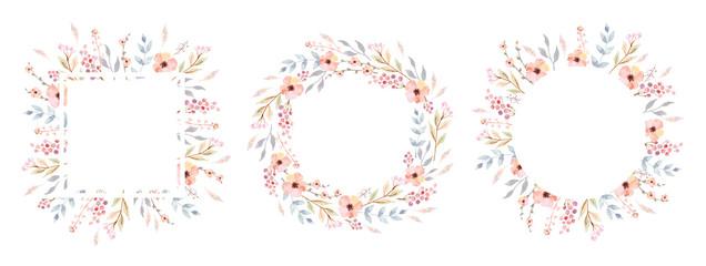 Fototapeta Floral Frame Collection. Set of cute watercolor retro flowers. obraz