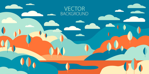 Landscape in geometric minimalist flat style. Autumn background with trees, hills, clouds, lake in vector. Abstract horizontal banner with empty space for text. Panorama