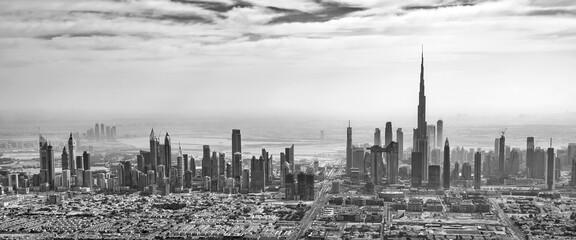 Wall Mural - Panoramic aerial view of Dubai skyline in black and white, United Arab Emirates