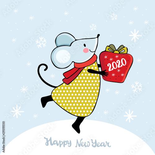 Cute Cartoon Mouse In Vector Kawaii Mouse Holding A Lantern