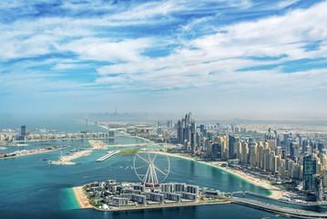 Wall Mural - Aerial view of Dubai Marina skyline with Dubai Eye ferris wheel, United Arab Emirates