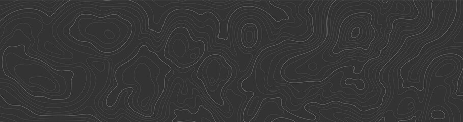Background of topographic line contour map, black-white design of geographic grid map