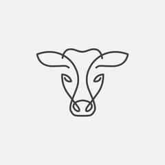 cow head linear logo design vector, cow linear emblem, cow head illustration, farming logo