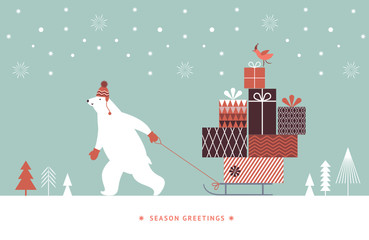 Horizontal banner, Christmas Card, Seasons greetings, Big polar bear carries a sled with gifts