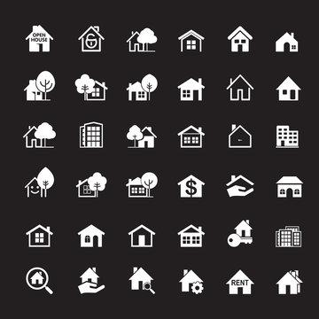 Set of white house icon. Real estate. Outline vector Illustration.
