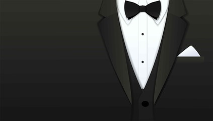 Close up of classic formal male tuxedo and bow tie with copy space, Paper art cut and craft style background