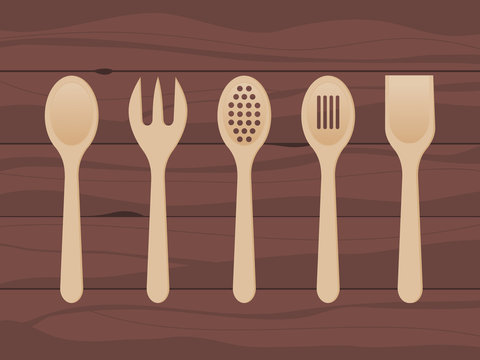 Wooden spoons on wood texture background. Kitchen utensils made of wood. Mixing spoon, spatula, fork, strainer. Kitchen tools set. Cooking concept. Cook equipment. Vector illustration, flat, clip art.
