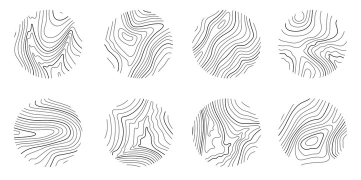 Set rings of topographic line map, circular geographic grid map