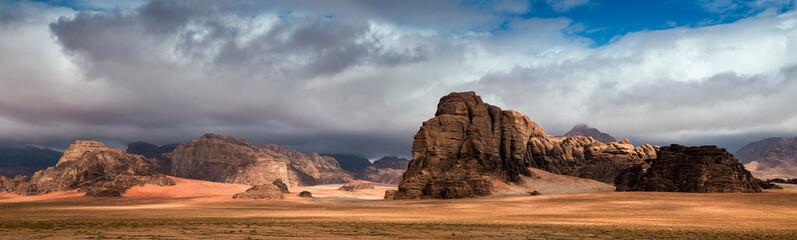 Panoramic view of  the mountain rocks at Wadi Rum desert, southern Jordan