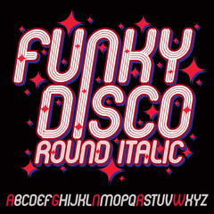 Vector funky cursive alphabet letters set with parallel lines, can be used in poster creation for discotheque of 70s and 80s.