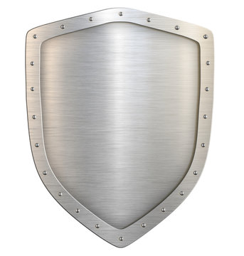 Metal classical shield isolated with clipping path 3d illustration