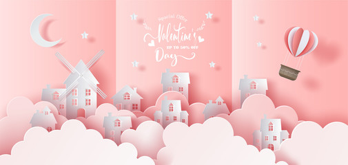 City with basket of an air balloon in the sky, pop up card, Happy Valentine's Day banners with discount offer on special occasion, paper art style, flat-style vector illustration.