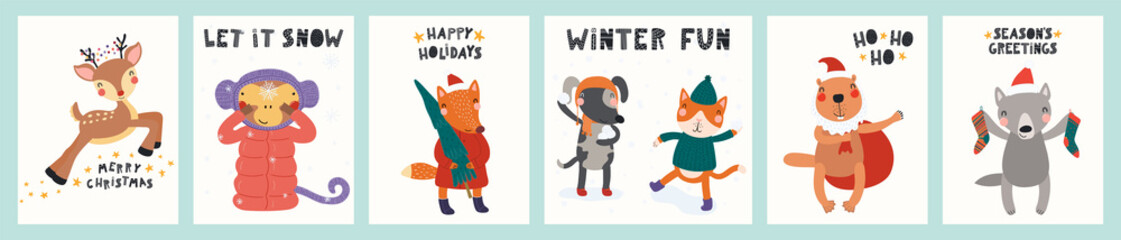 Collection of greeting cards with cute animals doing winter, Christmas activities, tree, gifts, text. Hand drawn vector illustration. Scandinavian style flat design. Concept for children print.