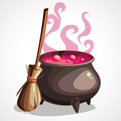 Cartoon witch cauldron and broom for halloween.
