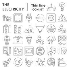 Electricity thin line icon set, power symbols collection, vector sketches, logo illustrations, electrician energy signs linear pictograms package isolated on white background, eps 10.
