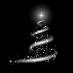 Template for New Year project. Snow, stars, New Year tree, blizzard. White image on a black background for any color with transparency