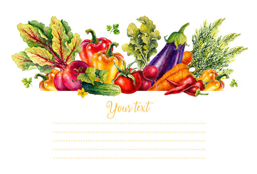 Vegetables. Set of watercolor illustrations