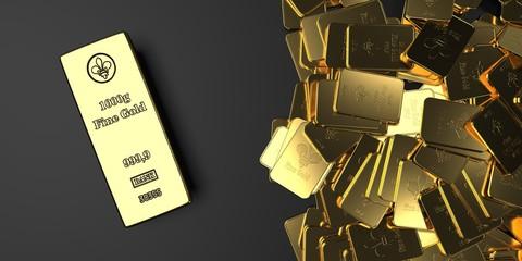 Fototapete - Fine Gold Bars 1000g And 10 Oz