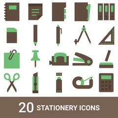 商品アイコン 文房具 カラー 20セット