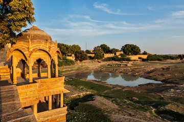 Fotomurales - Pavillion at Amar Sagar lake, Jaisalmer, Rajasthan, India