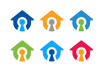 Home protection logo set, house and key hole icon - Vector,