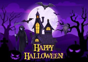 Obraz Halloween ghosts, bats, pumpkin and death skeleton - fototapety do salonu