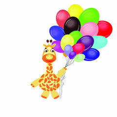 Cartoon giraffe with balloons on a white background