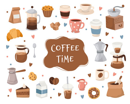 Coffee collection, different coffee elements with lettering. Cute cartoon icons in hand drawn style. Vector illustration